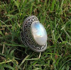Bohemian Rings, Bohemian Gypsy, Bridesmaid Rings, Silver Pearl Ring, Moonstone Jewelry, Gemstone Jewelry, Gothic Rings, Rainbow Moonstone Ring, June Birth Stone