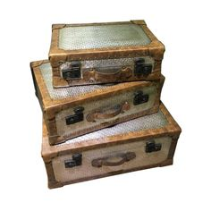 This set of 3 vintage wood and tin suitcases is the perfect piece to add to any home decor. Set of 3 Wood + Tin x x Decorative Trunks, Decorative Pillows, Decorative Boxes, Suitcase Storage, Suitcase Set, Organizing Your Home, Brown Wood, Memorable Gifts, Home Decor Outlet