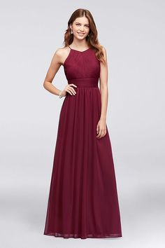 Burgundy bridesmaid dress from David's Bridal | Micro-Pleated Mesh Halter Bridesmaid Dress by Reverie for a burgundy wedding