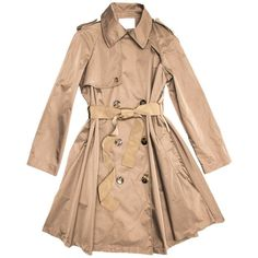 Preowned Lanvin Coat - 2008 Taupe Bell Shape Raincoat With Ribbon Belt (4,750 BAM) ❤ liked on Polyvore featuring outerwear, coats, jackets, brown, raincoats, knee length raincoat, brown coat, mac coat, lanvin and lanvin coat