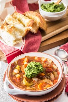 Vegetable and White Bean Soup with Pesto | http://thescrumptiouspumpkin.com/2015/01/12/vegetable-and-white-bean-soup-with-pesto/