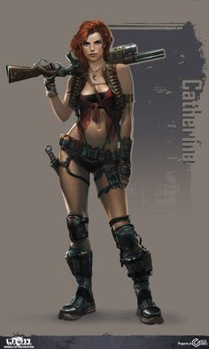 WoD Character concept Picture  (2d, character, post apocalyptic, girl, woman, gun)