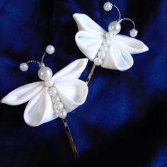 Bodas primera comunión blanca Kanzashi mariposas