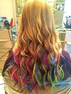 blonde and rainbow semi long waves #Hair
