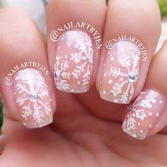 snowflake nails #nailartbyjen