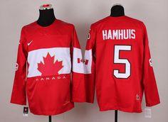 Team Canada 5 Dan HAMHUIS 2014 Winter Olympics Jersey - Red