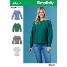 Misses Tops with Sleeve Variations Simplicity Sewing Pattern 8987.