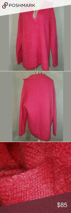 MOHAIR Blend Oversized Sweater Neon Electric Pink MOHAIR Blend Oversized Sweater Collar Neon Electric Pink Longhair Large Basco Sweaters Crew & Scoop Necks