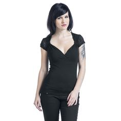 - V-neckline - underbust seam - sleeves made of lace  The t-shirt Lave V-Neck of Black Premium by EMP is made for a sexy performance with seductive details. From the v-neck and the underbust seam to the tight fit and the lace sleeves, this top is pure sex appeal.