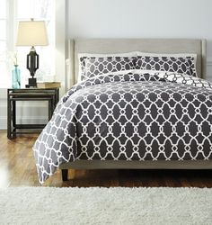 Engstrom Furniture has this gorgeous King Duvet Cover Set.  Made of 100% Cotton. Machine Washable. Perfect for a classic or modern look. http://www.engstromhomefurniture.com/product/bedding/bedding-ensembles/gate-king-duvet-set/