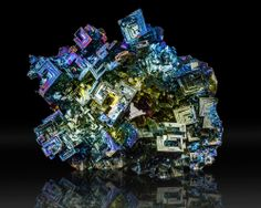 """6"""" Large Metallic Blue-Yellow-Magenta BISMUTH Hoppered Crystals England for sale - $325"""