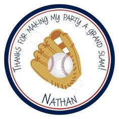 Baseball In Glove.  Personalized stickers by partyINK.