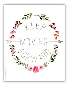 Keep Moving Forward print of watercolor wreath by VictoryDay