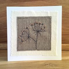 Handmade Blank Greeting Card Embroidered Cow Parsley