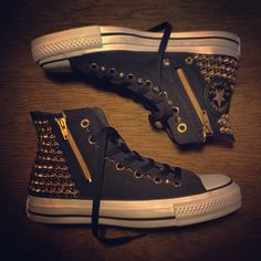 Women's studded converse chuck taylor black & gold.