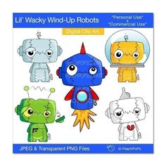 robots clip art digital clip art cute, space, rocket, blue, orange, green, red - Lil Wacky Wind-Up Robots - Personal and Commercial Use. $5.00, via Etsy.