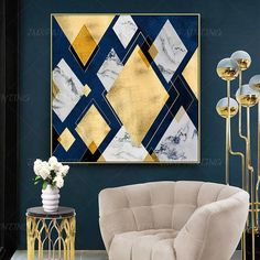 Geometric art Abstract Paintings On Canvas art Gold painting extra Large framed Wall art Dinning Room wall Pictures cuadros abstractos - Office - Blue And Gold Living Room, Navy Living Rooms, Blue Living Room Decor, Living Room Designs, Large Framed Wall Art, Images Murales, Motif Art Deco, Room Color Schemes, Geometric Art