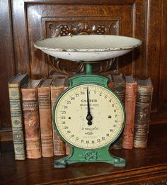 Antique Salter Kitchen Scale English Household Family Cast Iron Green No. 46