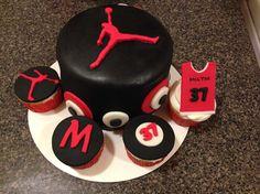Jordan cake black and red Boy Babyshower Pinterest Cake