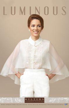 Filipiniana Top and Dress (Kultura), Modern Filipiniana Dress, Filipiniana Wedding, Filipino Fashion, Mode Turban, Retro Mode, Blouse Designs, Fashion Dresses, Lady, Womens Fashion