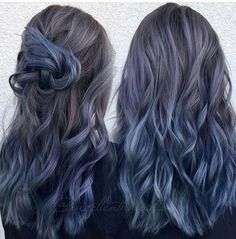 Another view of the previous post. Used all Kenra Professional guy tang favorites Metallic Demi color. Hair by Kim Kim Ketcham… Hair Dye Colors, Ombre Hair Color, Cool Hair Color, Purple Hair, Smokey Blue Hair, Ash Blue Hair, Demi Hair Color, Metallic Hair Color, Black Hair