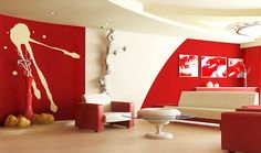 Decorate Your Family Room in Red-colored - living room design of red living room to decorate living room to design living room room color ideas room color tips room decorate tips room decoration your living room to red color living room decoration Colourful Living Room, Living Room White, Living Room Colors, Living Room Sofa, Living Room Decor, Living Rooms, Red Interior Design, House Paint Interior, Interior Design Living Room