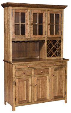 Amish Shaker Wine Hoosier Hutch