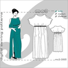 Maternity Plus Size suitable Digital PDF Sewing Patterns for Women/ Loose-Fit One-size Easy Dress Caftan >mc2patterns> size S-M-L mc2-2005