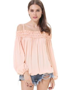 Pink Off the Shoulder Pleated Loose Blouse US$26.00