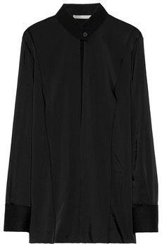 Victoria Beckham Cutout matte-satin blouse | NET-A-PORTER
