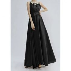 Golden Floral Edge Sleeveless Pleated Noble Style Polyester Women's Maxi-Dress
