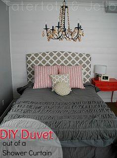 Make a duvet out of a shower curtain #DIY