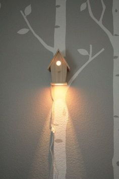 Hand Crafted Avery Wall Hanging Birdhouse Lamp Modern Baby Nursery Lighting