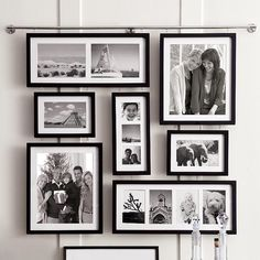 "choose black, espresso or white finish seven frames hold 13 photos: two 5x7, two 4x6, three 3x3, four 3 1/2x5 and two 8x10 frames hang from a 33"" nickel-plated brass bar with a series of preset hooks includes wall screws and instructions for easy assembly 33"" x 27 1/4"" overall when assembled"