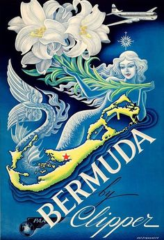 Pan Am World Airlines and Bermuda vintage travel poster with a mermaid Old Poster, Retro Poster, Pub Vintage, Vintage Films, Retro Airline, Vintage Airline, Bermuda Travel, Mermaid Poster, Mermaid Art