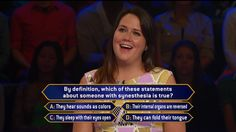 "Today, Kate Anderson faces a case of synesthesia when she plays a second day on an all-new #MillionaireTV. By definition, which of these is the correct #FinalAnswer? Tell us what you think, then watch Kate on Tuesday's ""Millionaire"" with host Chris Harrison. Find your station at MillionaireTV.com."
