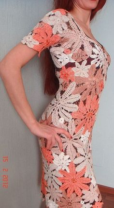 Платье'Золотая корица' - авторское платье,вязаное платье,Вязание крючком