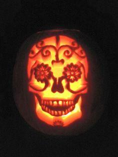 Sugar skull pumpkin.