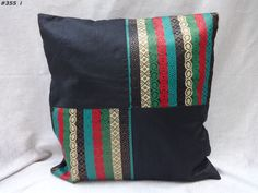 decorative cushion cover pillow cover throw patch black india #355 #Handmade