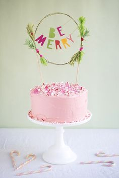 Be Merry Holiday Cake Topper DIY