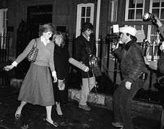 Photographers confront Diana Spencer in London on Nov. 20, 1980. The future princess became a tabloid target with the announcement of her engagement to Prince Charles, the future King of England.Lady Di, 1980