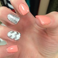 Peach nails with silver glitter and white chevron
