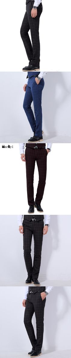 MarKyi 2016 spring new plaid suit pants men for wedding good quality mid waist mens classic pants plus size 36