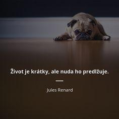 Život je krátky, ale nuda ho predlžuje. - Jules Renard #život #jedlo Ale, Quotes, Fox, Qoutes, Ale Beer, Ales, Quotations, Shut Up Quotes, Sayings