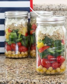 Chickpea Veggie Salad-in-a-Jar | The Blonde Buckeye