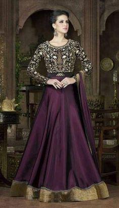 Dark Purple Silk Long Anarkali Fashion Salwar Kameez ,Indian Dresses - 1