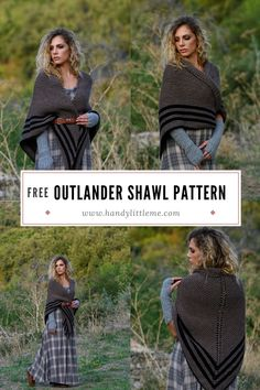 Outlander Shawl Pattern. Make a simple knitted shawl inspired by Claire Fraser with this beginner-friendly knitting pattern. Sizing is versatile, as you can easily make this shawl as small or as large as you want! This crossover shawl worn with a belt was inspired by Claire's Carolina shawl in season four of the Outlander series. #knitting #knittingpatterns #outlander #shawl #shawlpattern #clairefraser Outlander Knitting Patterns, Free Knitting Patterns For Women, Beginner Knitting Patterns, Knitting For Beginners, Knitting Ideas, Knitting Abbreviations, Claire Fraser, Outlander Series, Stitch Design