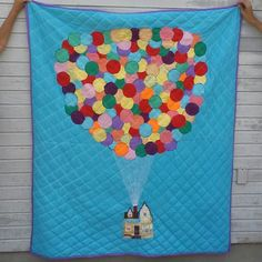 """""""Up"""" Quilt. Took two months to make from fabric scraps and pure imagination. """"Up"""" Quilt. Took two months to make from fabric scraps and pure imagination. Made as a wedding present for a childhood f. Disney Up House, Disney Applique, Disney Quilt, New Baby Products, Pure Products, Quilt Top, Fabric Scraps, Fun Crafts, Craft Projects"""