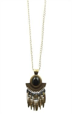 Deb Shops Long Statement Necklace with Tribal Design $8.75
