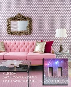 Pink Luxury Room Crystal Light Switch Plate Cover